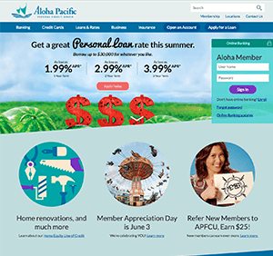 Aloha Pacific Federal Credit Union website